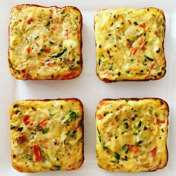 Oven Baked Zucchini and Roasted Pepper Omelettes