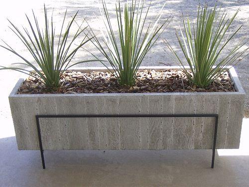 Cement Container Planters : Large wood grain concrete planter gardens grains and