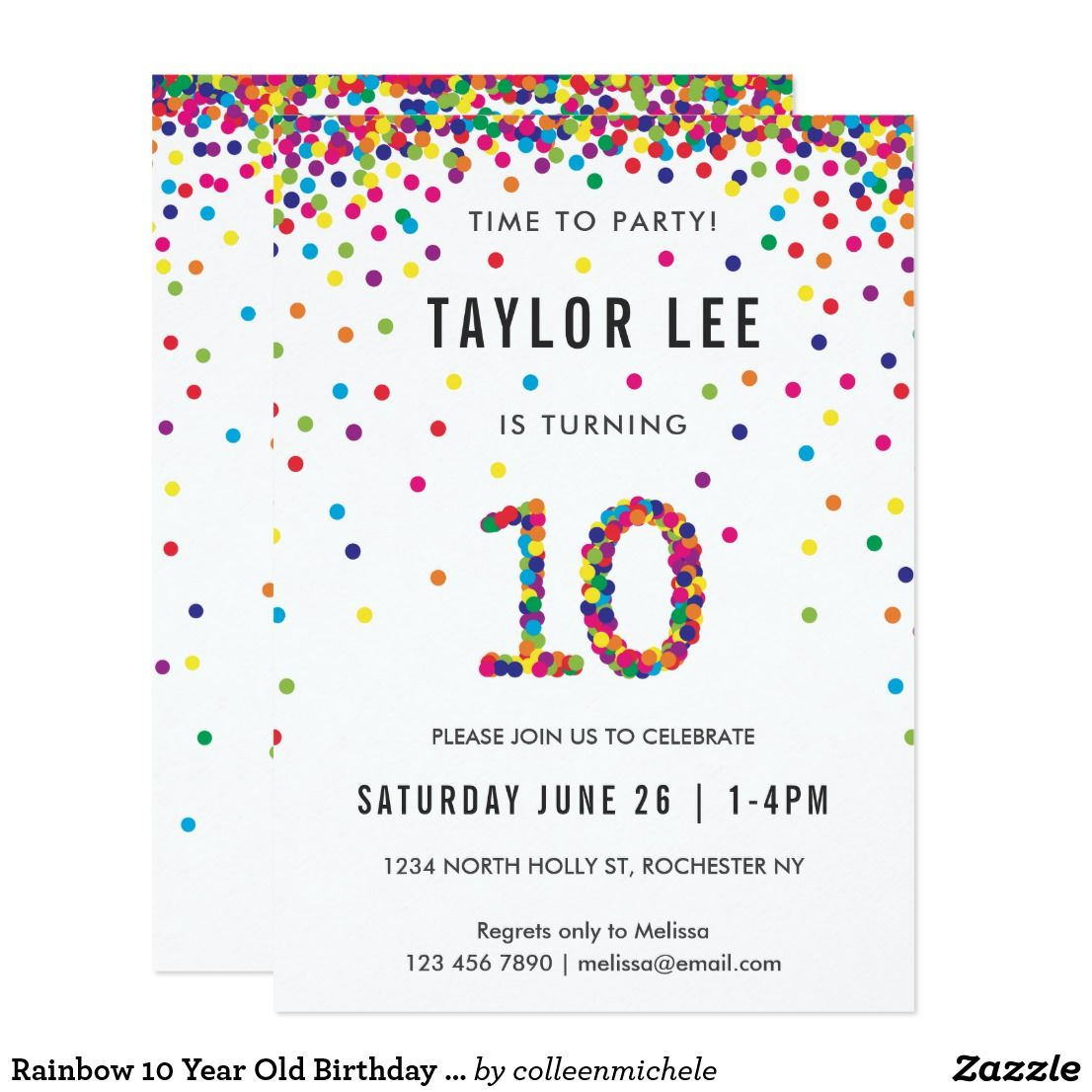 Rainbow 10 Year Old Birthday Party 10th Birthday Invitation Zazzle Com Confetti Invitation Boys 8th Birthday Birthday Invitations