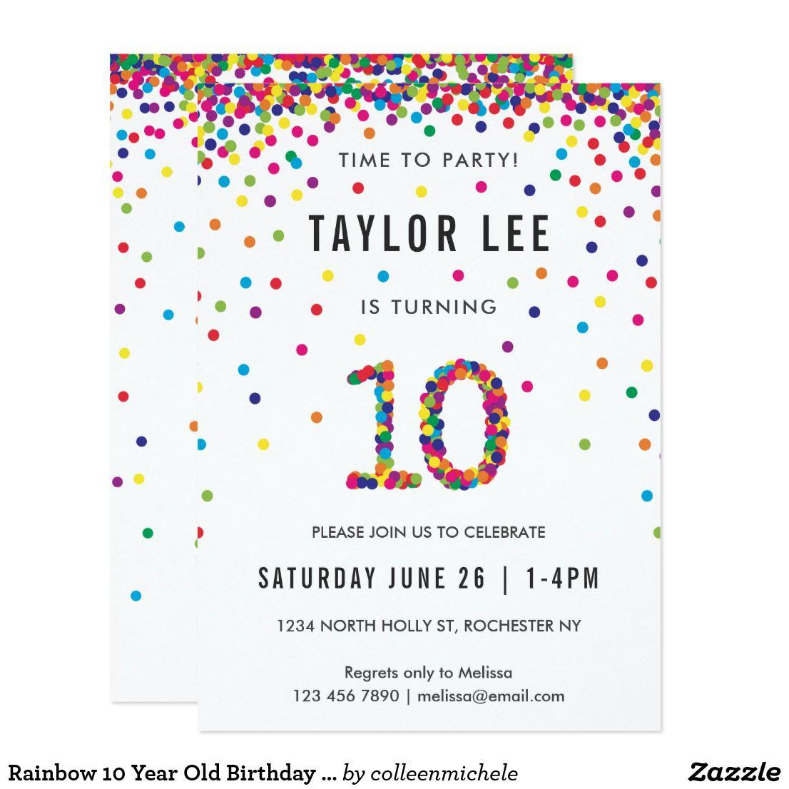 rainbow 10 year old birthday party