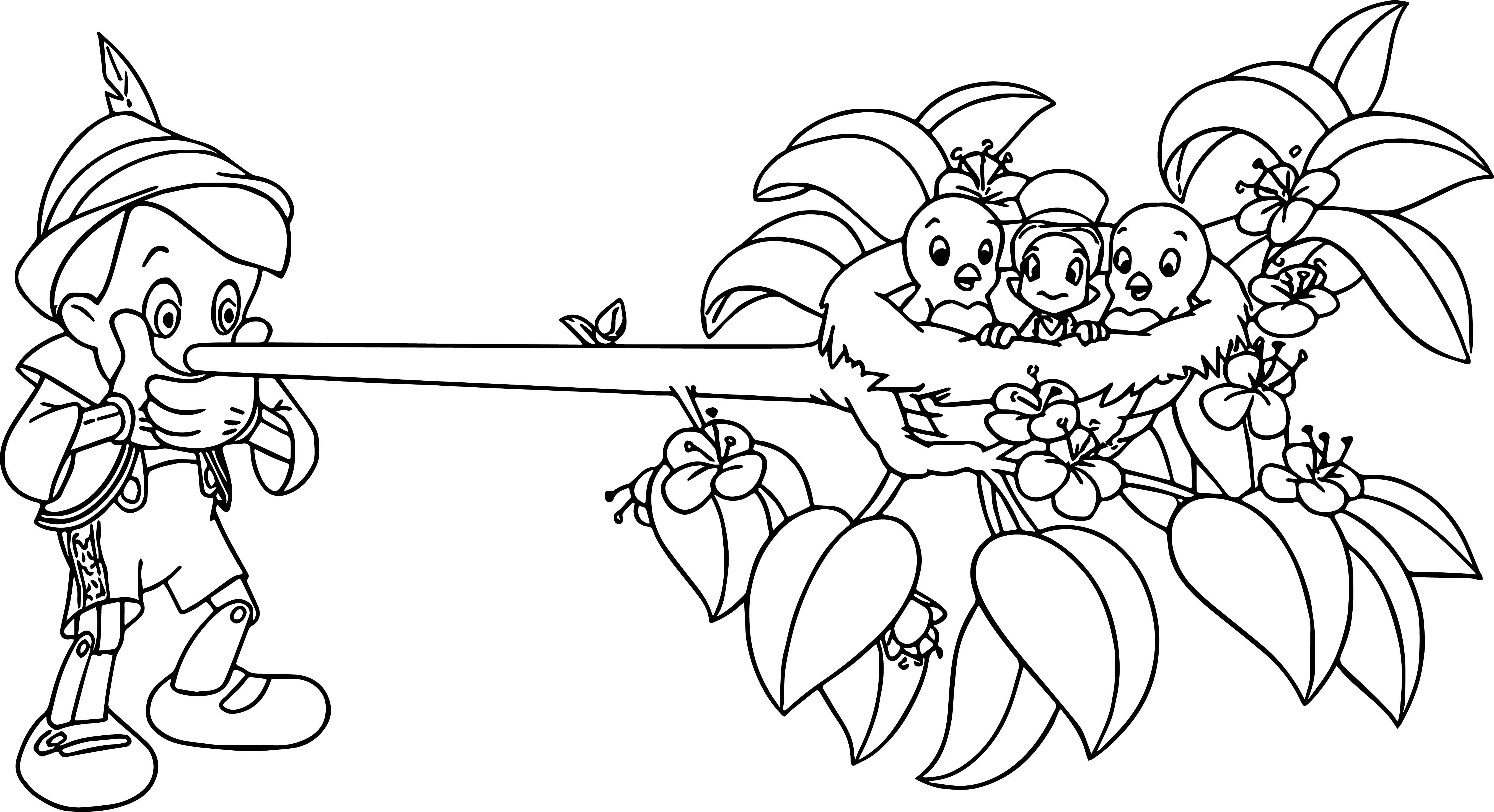 Cool Pinocchio And Jiminy Nest Nose Coloring Page Coloring Pages