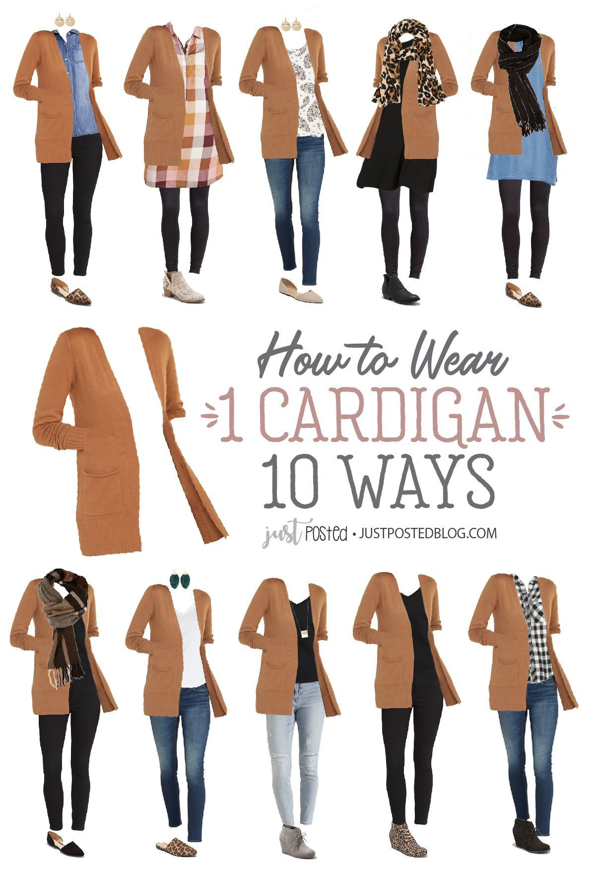 How to Wear and Style 1 Cardigan 10 Different Ways: Each look is Under