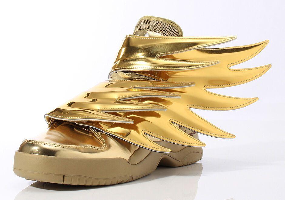 Adidas Jeremy Scott Wings 3 0 Metallic Gold Batman Shoes Sz 4 14 100 Authentic Ebay Adidas Jeremy Scott Wings Sneakers Men Fashion Jeremy Scott Adidas