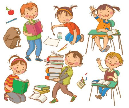 Children_Studying_School_Activities vector art illustration