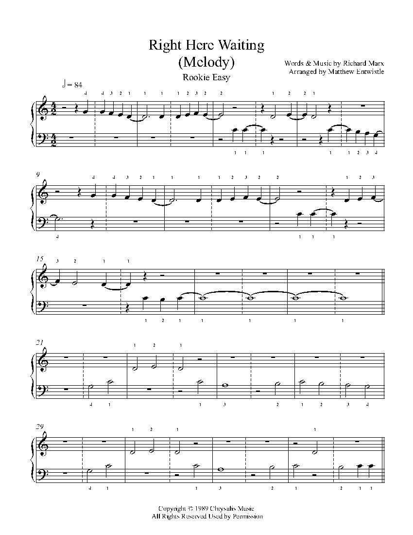 Right Here Waiting Melody By Richard Marx Piano Sheet Music Rookie Level Piano Sheet Music Piano Sheet Sheet Music