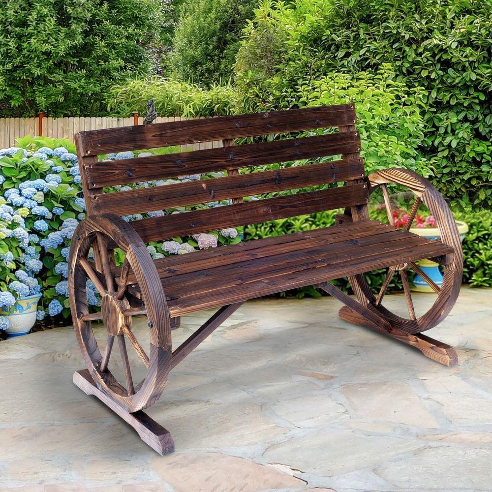 Wooden Bench Seat Wagon Wheel Design Fir Wood Brown Garden Outdoor