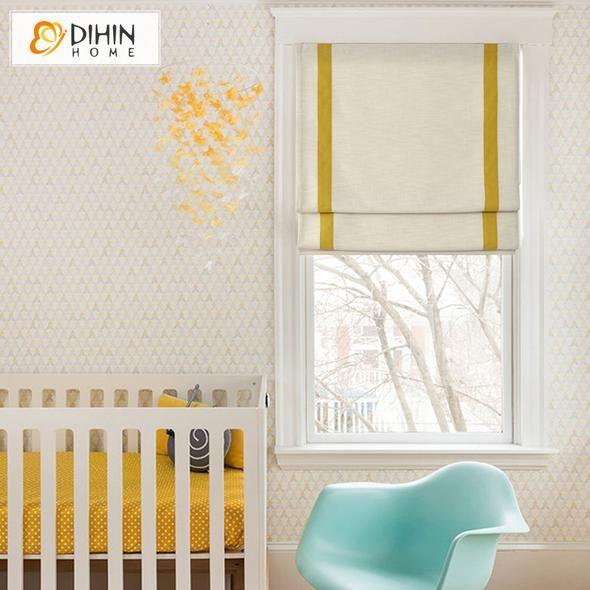 DIHIN HOME Simple Yellow Stripes Edge Printed Roman Shades