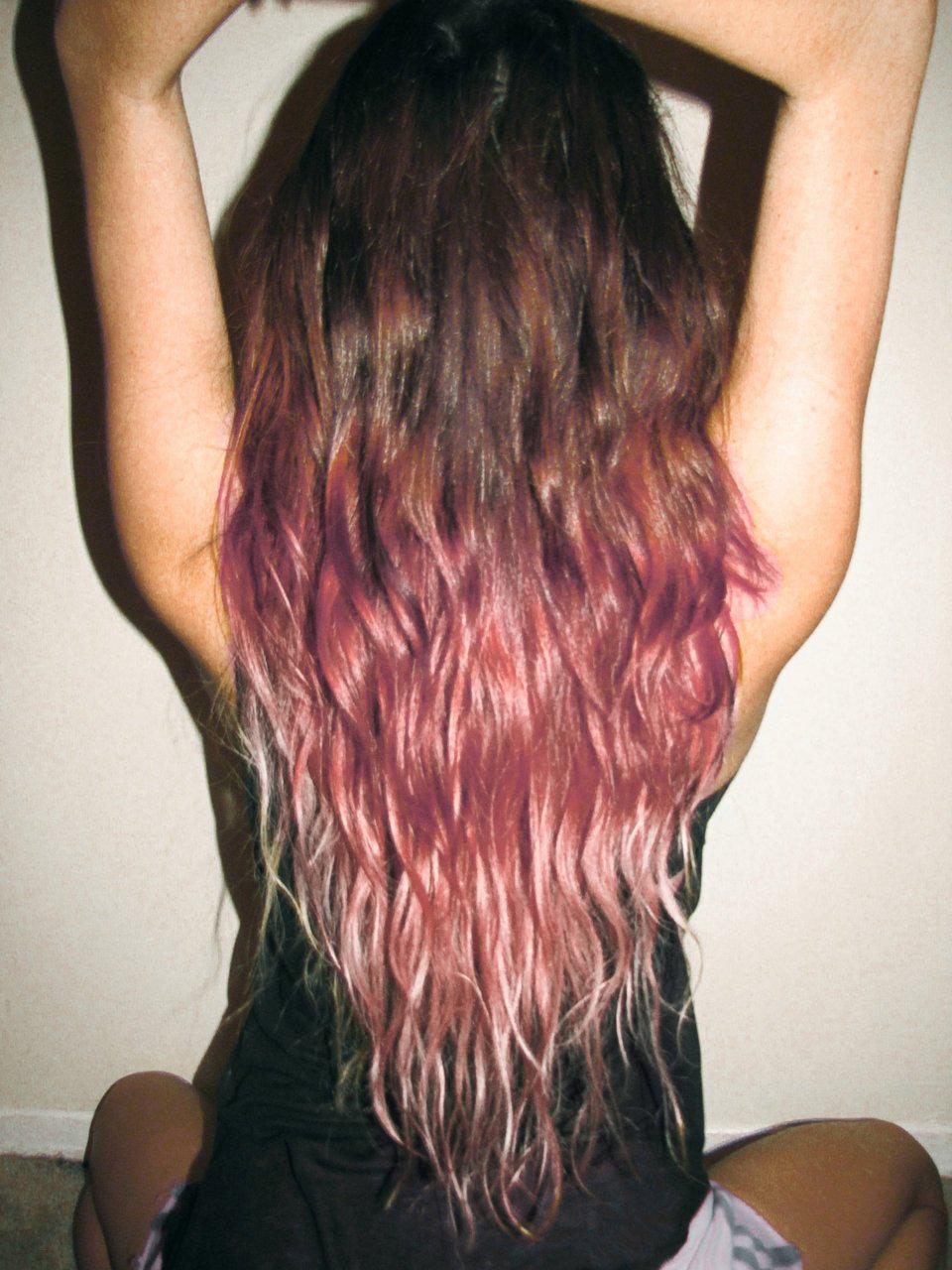 Long ombre hair black brown pink burgandy blonde ohmygod im