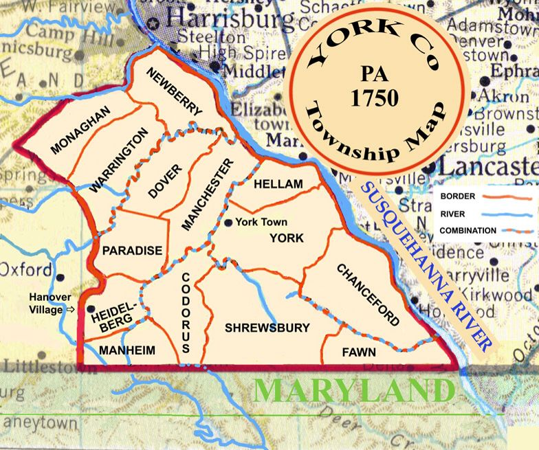 York County Pa township map 1750 | York | York pa, Map, York