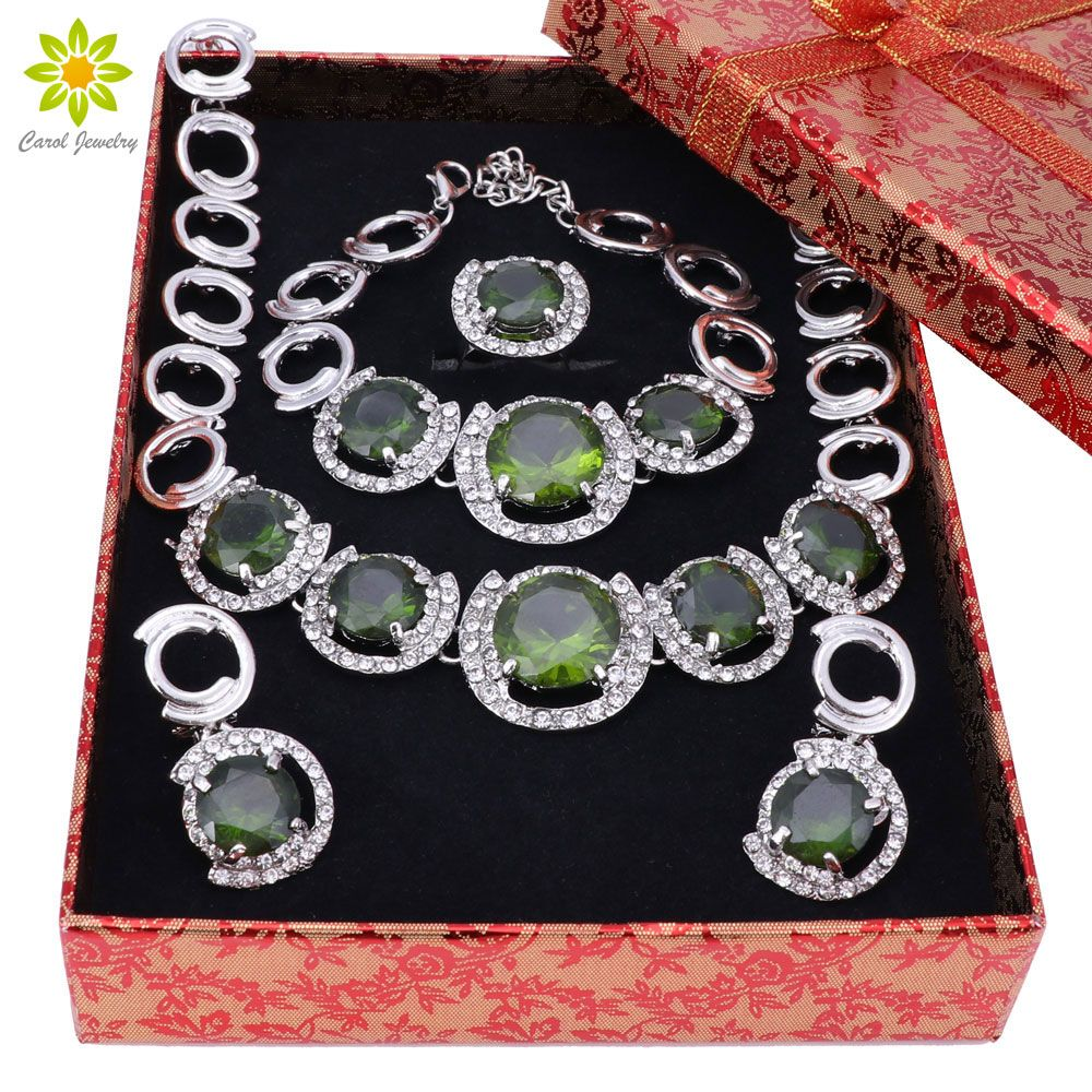 New African Jewelry Sets Silver Color Green Crystal Women ...