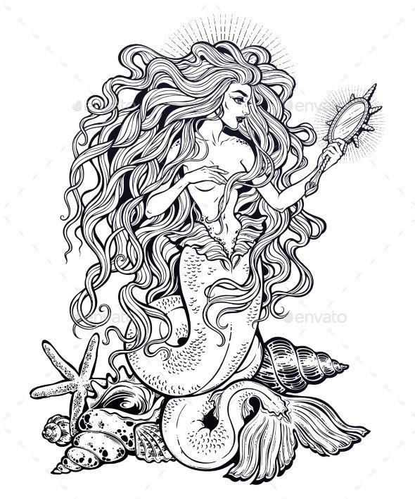 Mermaid Girl with Fairytale Magic Mirror