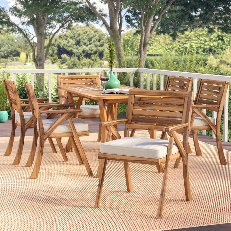 Coyne 7 Piece Teak Dining Set With Cushions Patio Dining Set Outdoor Dining Set 7 Piece Dining Set