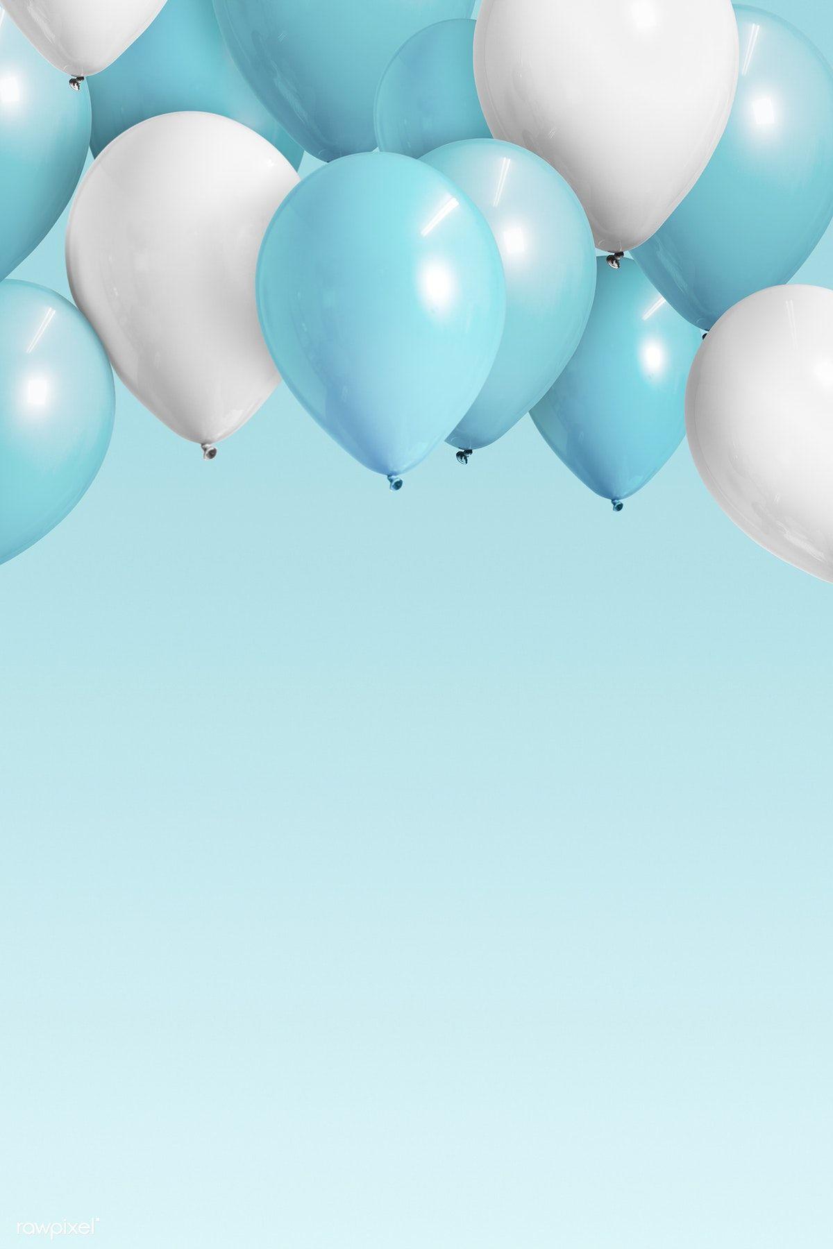 Download Premium Illustration Of Pastel Blue Balloons Banner Mockup 1224740 Blue Balloons Pastel Blue Balloons