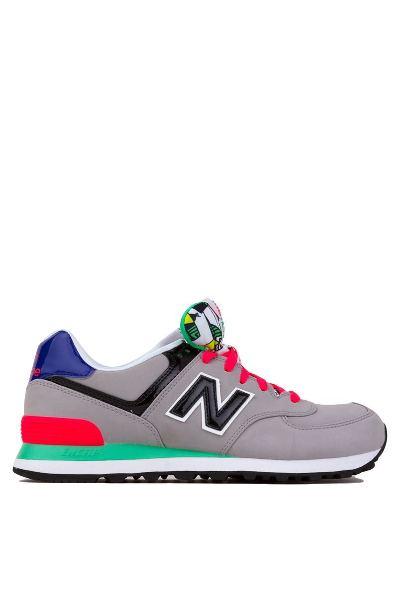 New Balance Pop Tropical 574 Sneakers in Alloy with Black and Coral Pink |  Womens Shoes