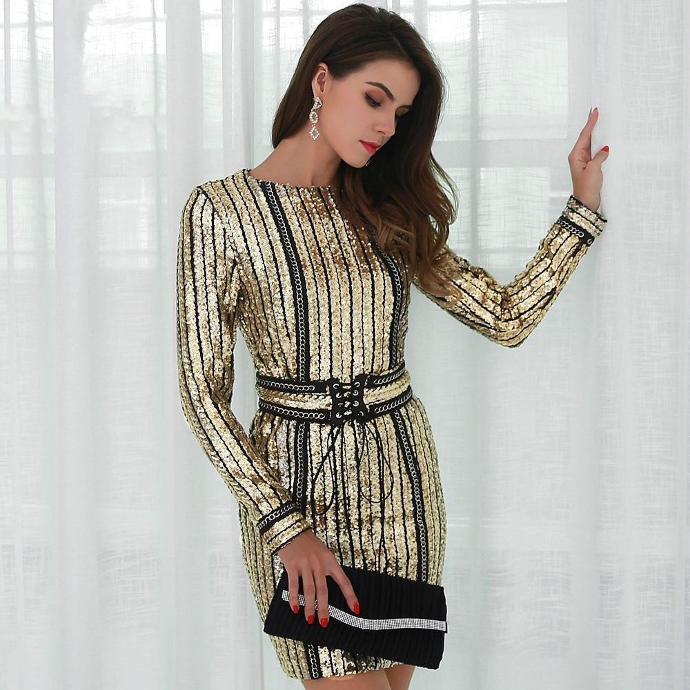 Belle long sleeve sequin dress gold black belle sequins and gold
