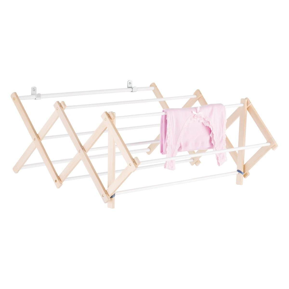 Dowel wooden wallmounted u floor clothes drying rack kitchen