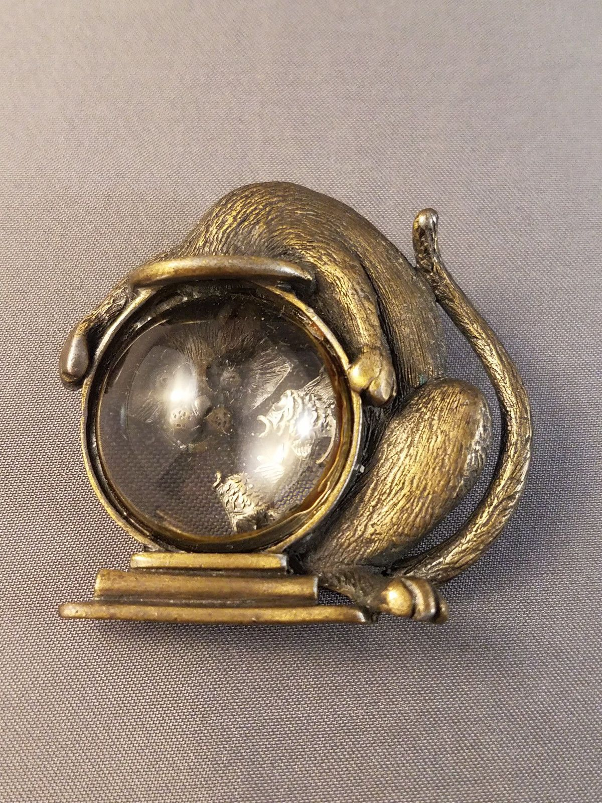 Vintage JJ Cat Looking into Fishbowl Brooch, with a clear Lucite fishbowl. Measures about 6 cm by 6.5 cm
