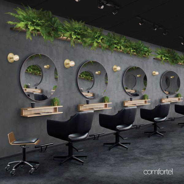Nero Round Salon Mirror Comfortel, Round Salon Mirrors With Lights