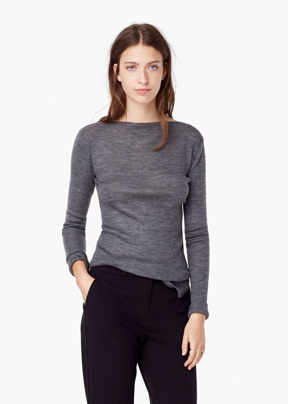 Ribbed Sweater Woman Blend Wool Blend Sweater Woman Ribbed Ribbed Wool tWzqfw8RT