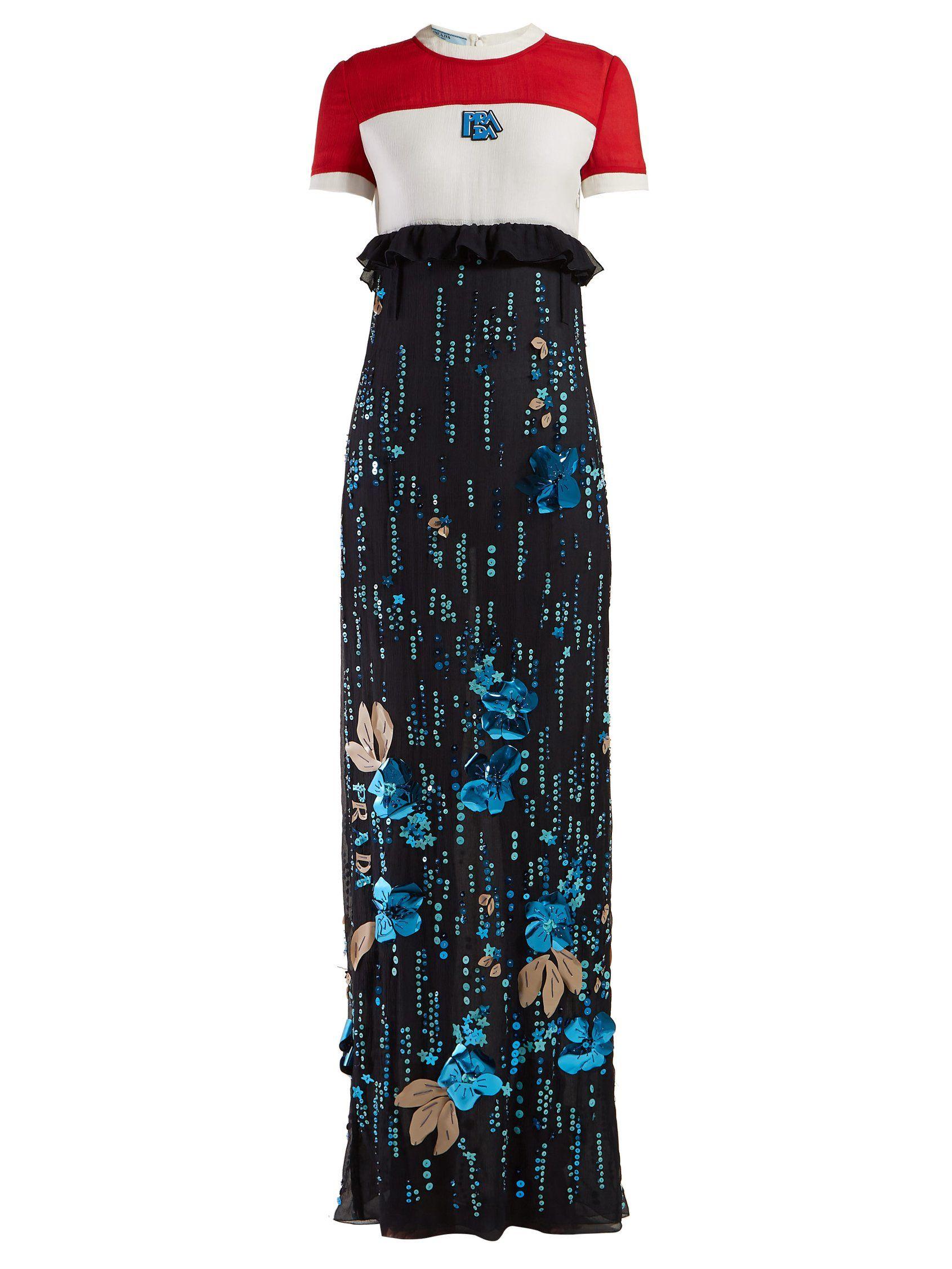 Sequinned silkchiffon gown prada matchesfashion us