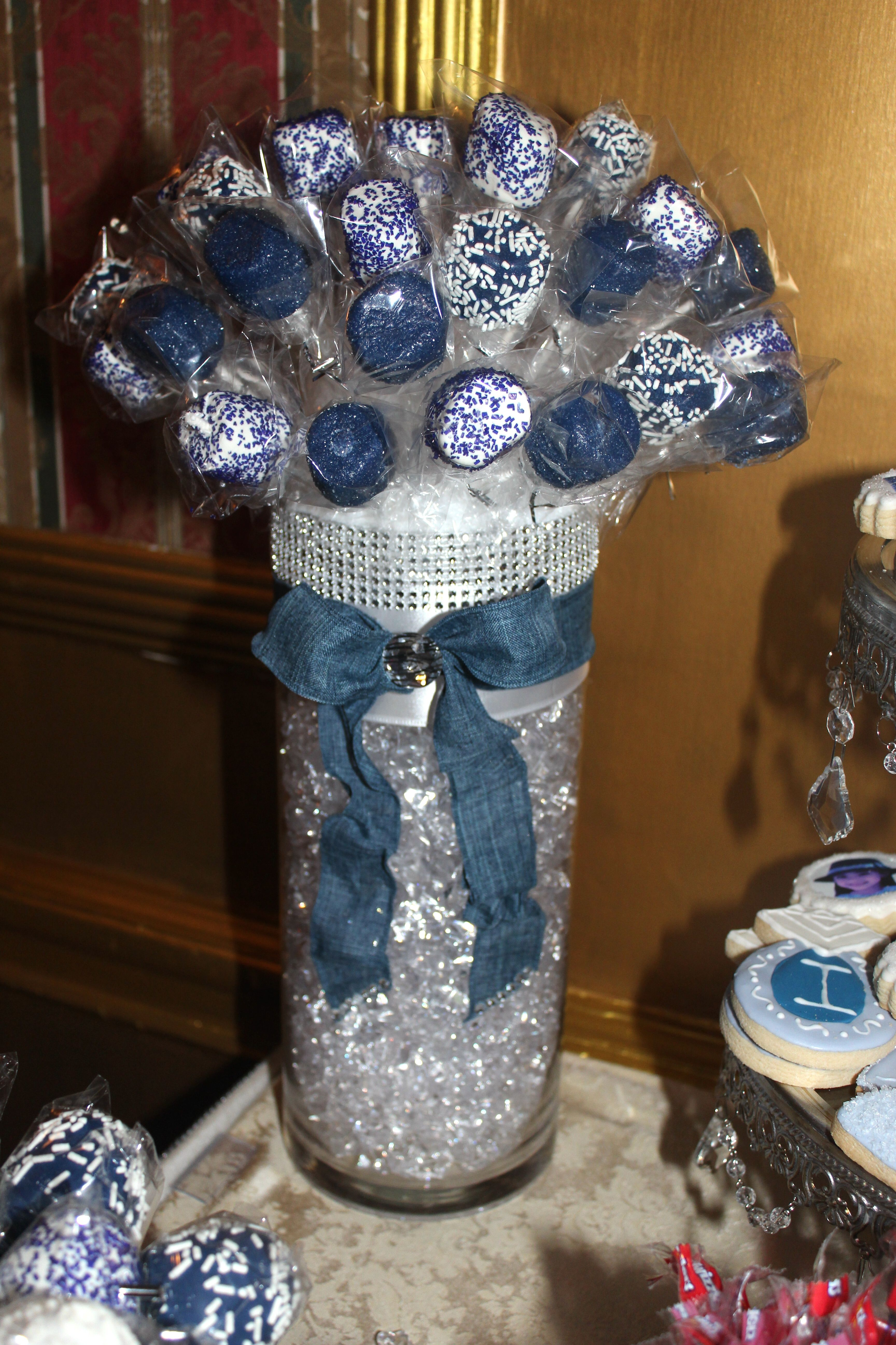 Marshmallow Topiary Denim Diamonds Candy Table Diamond Party