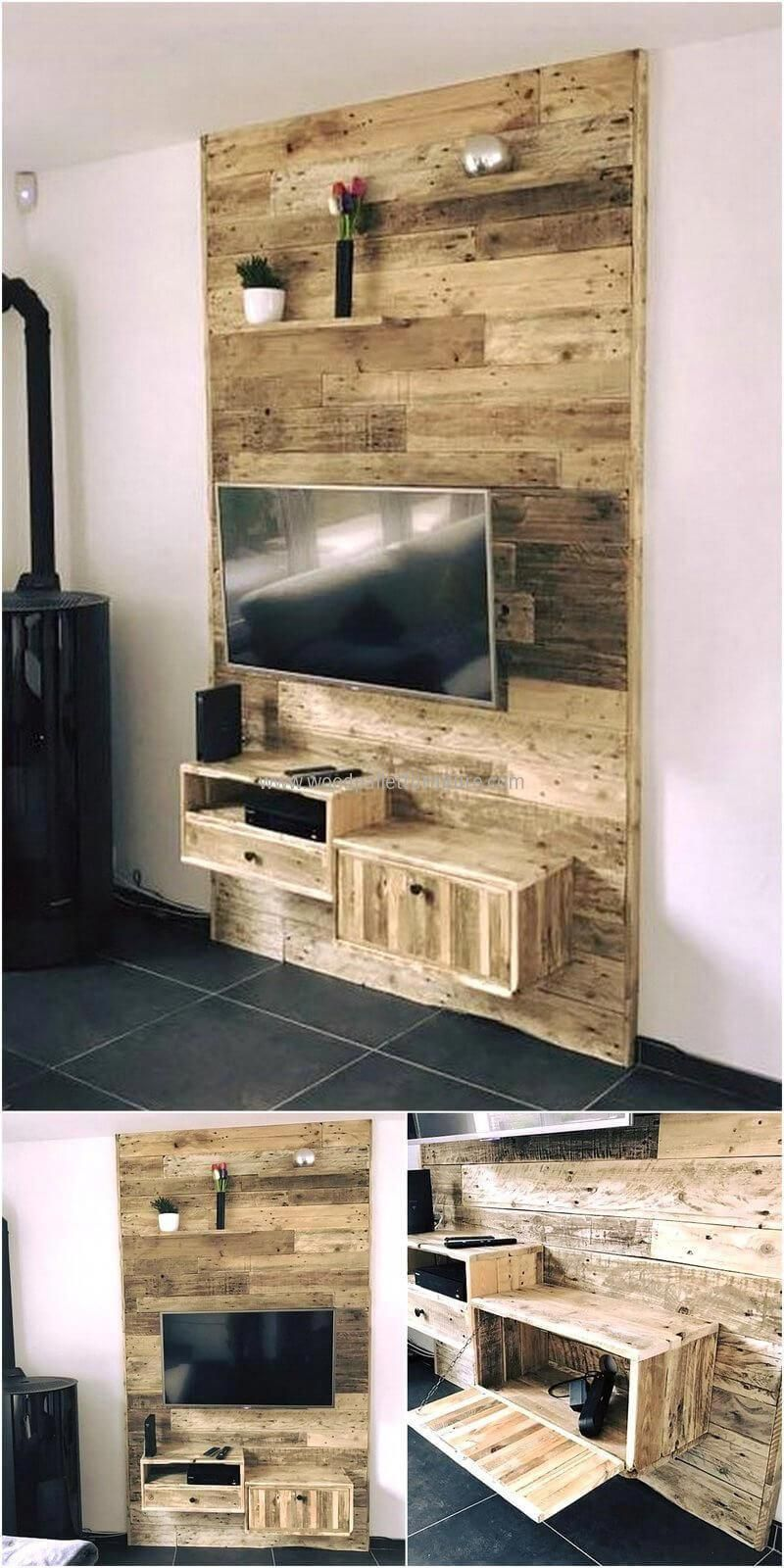 Newly Styled This Reused Wood Pallets Wall Tv Stand Looks Appealing The Whole Area Get Transformed By Use Wood Pallet Wall Palette Furniture Wooden Tv Stands