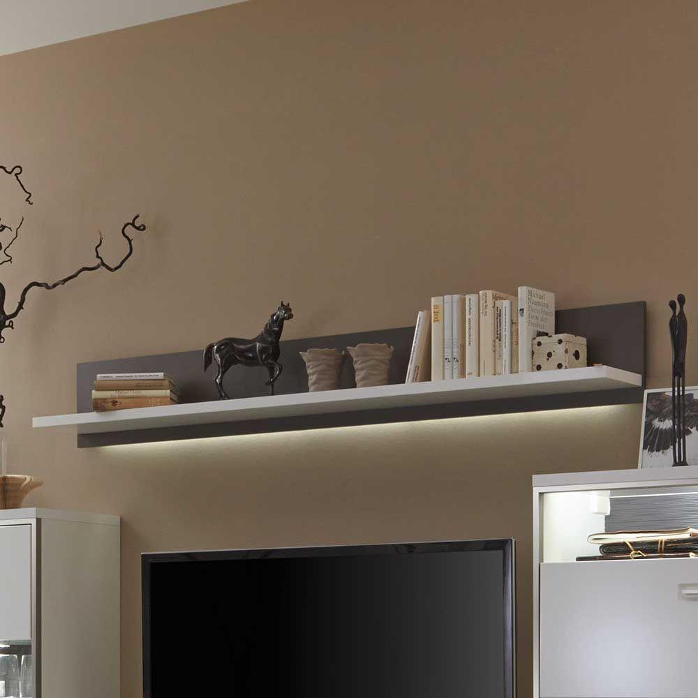 Wohnzimmer Wandboard Mit LED Beleuchtung Weiß Anthrazit Jetzt Bestellen  Unter: Https://moebel