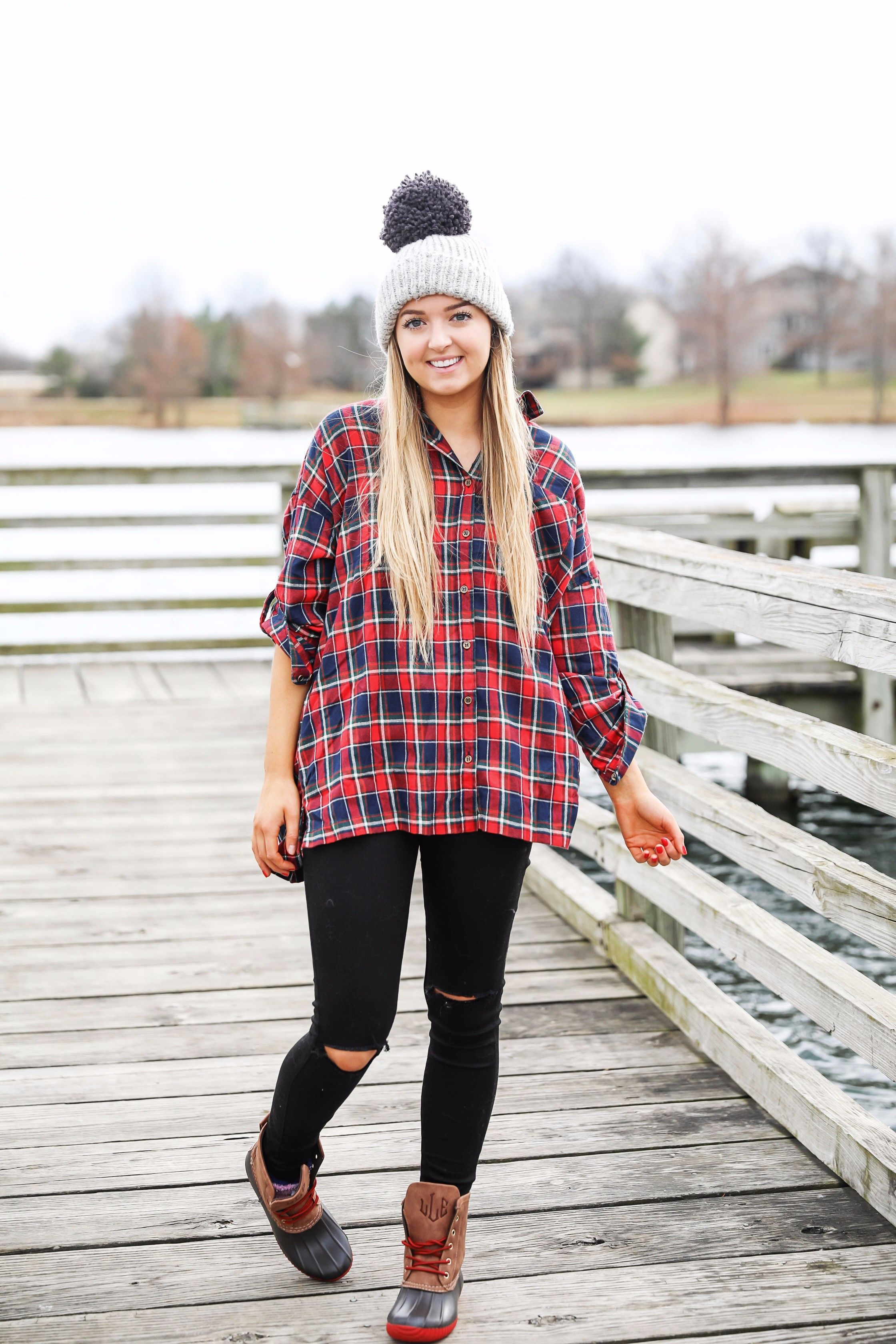 Cute flannel outfit with beanie and monogramed duck boots! Cute fall and  winter camping outfit idea! Details on the fashion blog daily dose of charm  by ... 97d1f135a3b