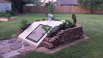 storm shelter landscaping outdoors