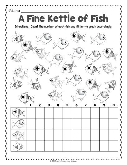 Free Printable Fish Count And Graph Worksheet Graphing Fish Printables Counting Worksheets
