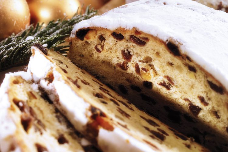 German Christmas Stollen With Nuts and Candied Fruit Breads