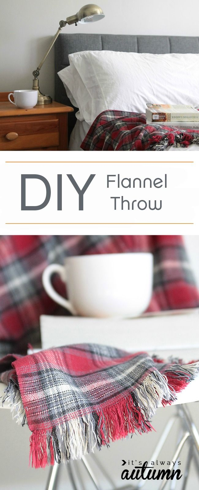 easy DIY fringed flannel throw great gift idea  Flannels Cozy and