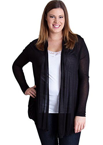 Black Woman Plus Size Open Front Tapered Long Sleeves Sheer Cardigan >>> You can get additional details at the image link.