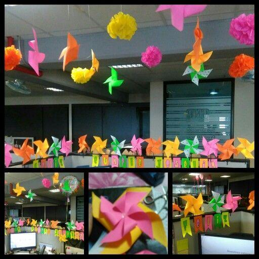 Decoraci n cumplea os oficina colores y remolinos deco for Decoracion oficina