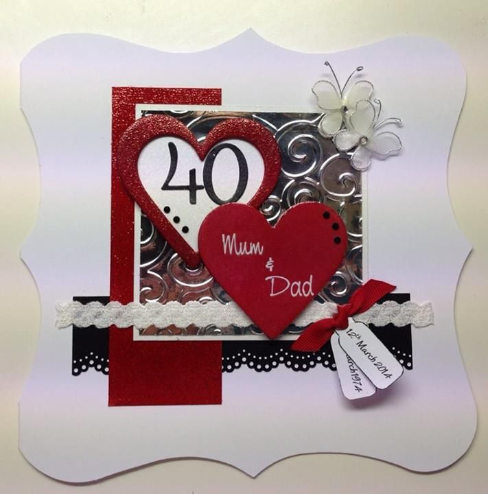 Handmade Ruby 40th Wedding Anniversary Card Wedding Anniversary Greeting Cards Wedding Anniversary Cards Anniversary Cards Handmade