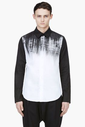 DENIS GAGNON Black & White Hand Painted Shirt