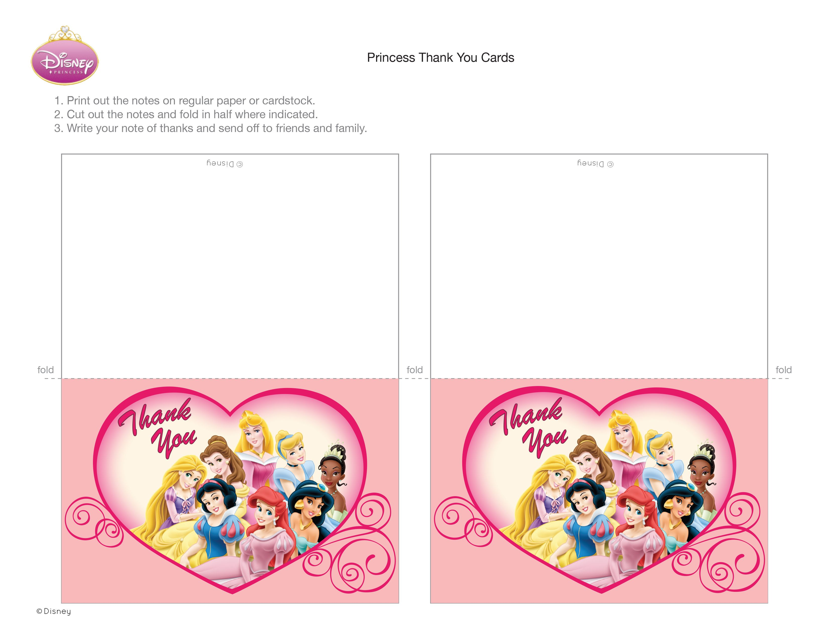 Disney Princess Thank You Cards