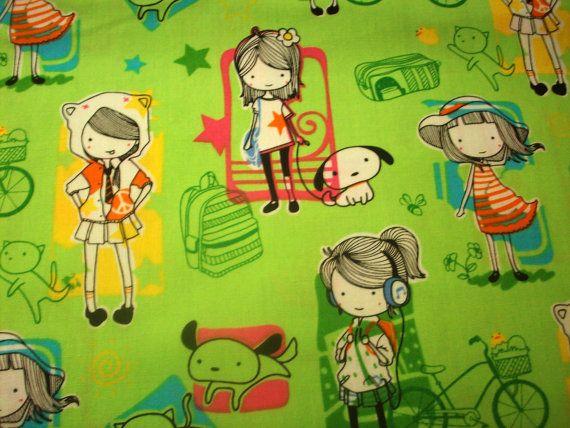 Anime Japanese girls in Green 1 yard by poppyseedfabrics on Etsy. $9.95 USD, via Etsy.