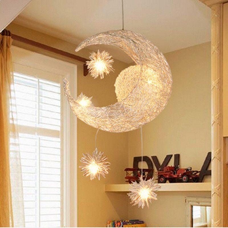 Kids Bedroom Light Fixtures modern led chandelier lighting moon star ceiling lamp lustre