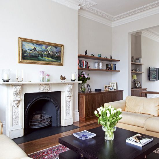 Victorian Living Room Dark Wood Furniture Cream Sofas