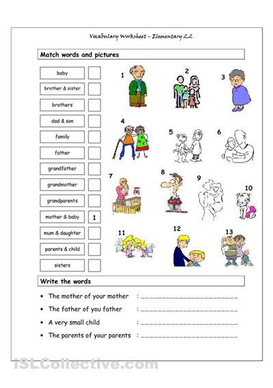 family members vocabulary worksheet english vocabulary worksheets matching worksheets esl. Black Bedroom Furniture Sets. Home Design Ideas