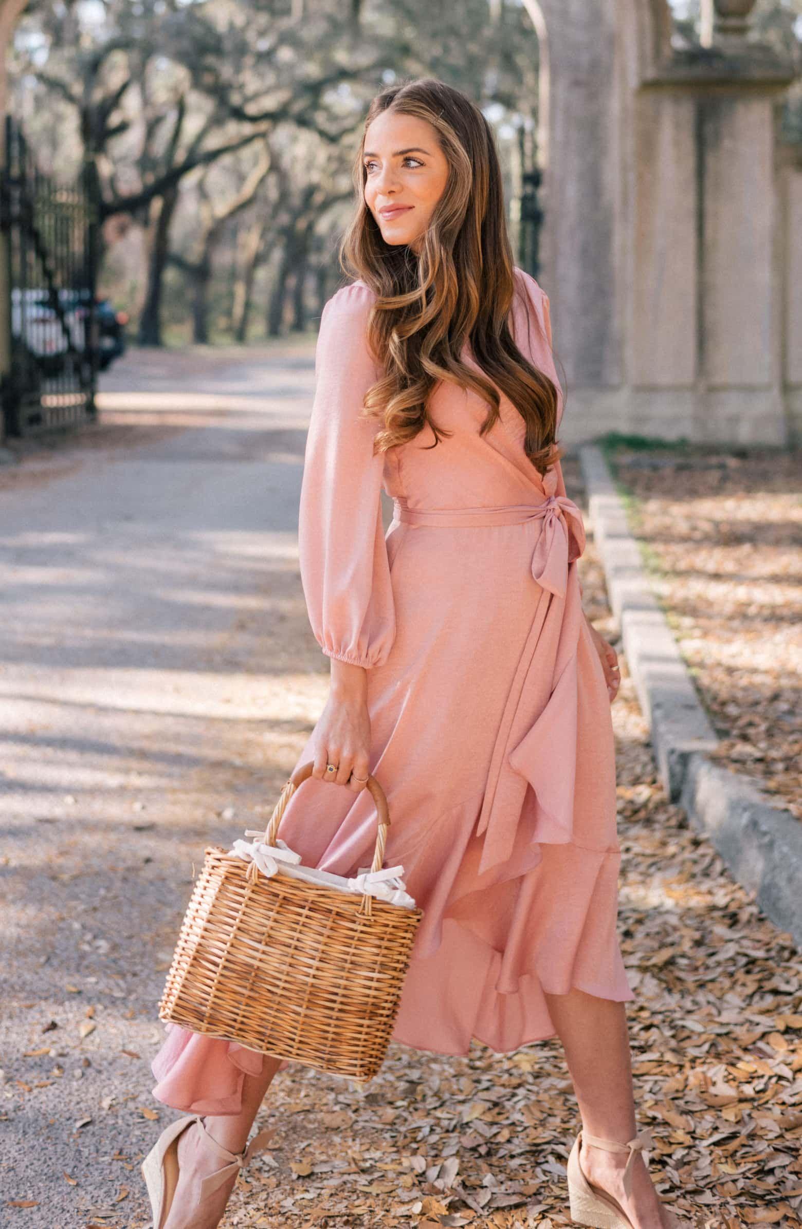 bd9a6ac9cc1b Gal Meets Glam Collection Jennifer Shimmer Satin Wrap Dress in Mauve |  Nordstrom #falldress #mididress #affiliate