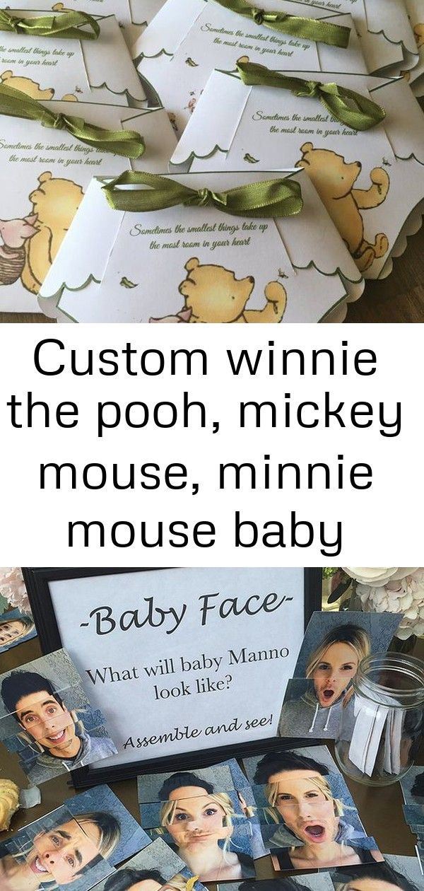 Custom Winnie The Pooh Mickey Mouse Minnie Mouse Baby Shower Diaper Invitations 1 Minnie Mouse Baby Shower Baby Minnie Mouse Baby Shower Diapers