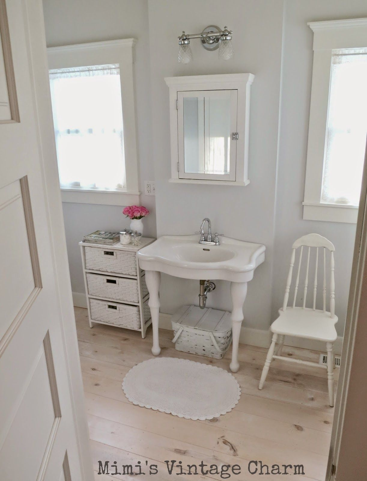 2 Sinks Like This With Wicker Baskets Underneath Train Rack Over Loo For Towels And White Penny Tile Need Recessed Medicine Cabinets Master Bathroom Recessed Medicine Cabinet Home Design Living Room