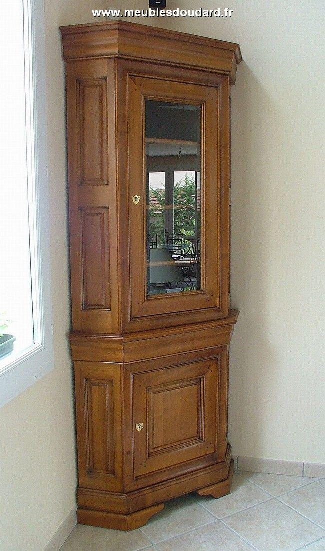 Meuble D Angle Vitree En Merisier Ref 057t Muebles Muebles De Madera Madera