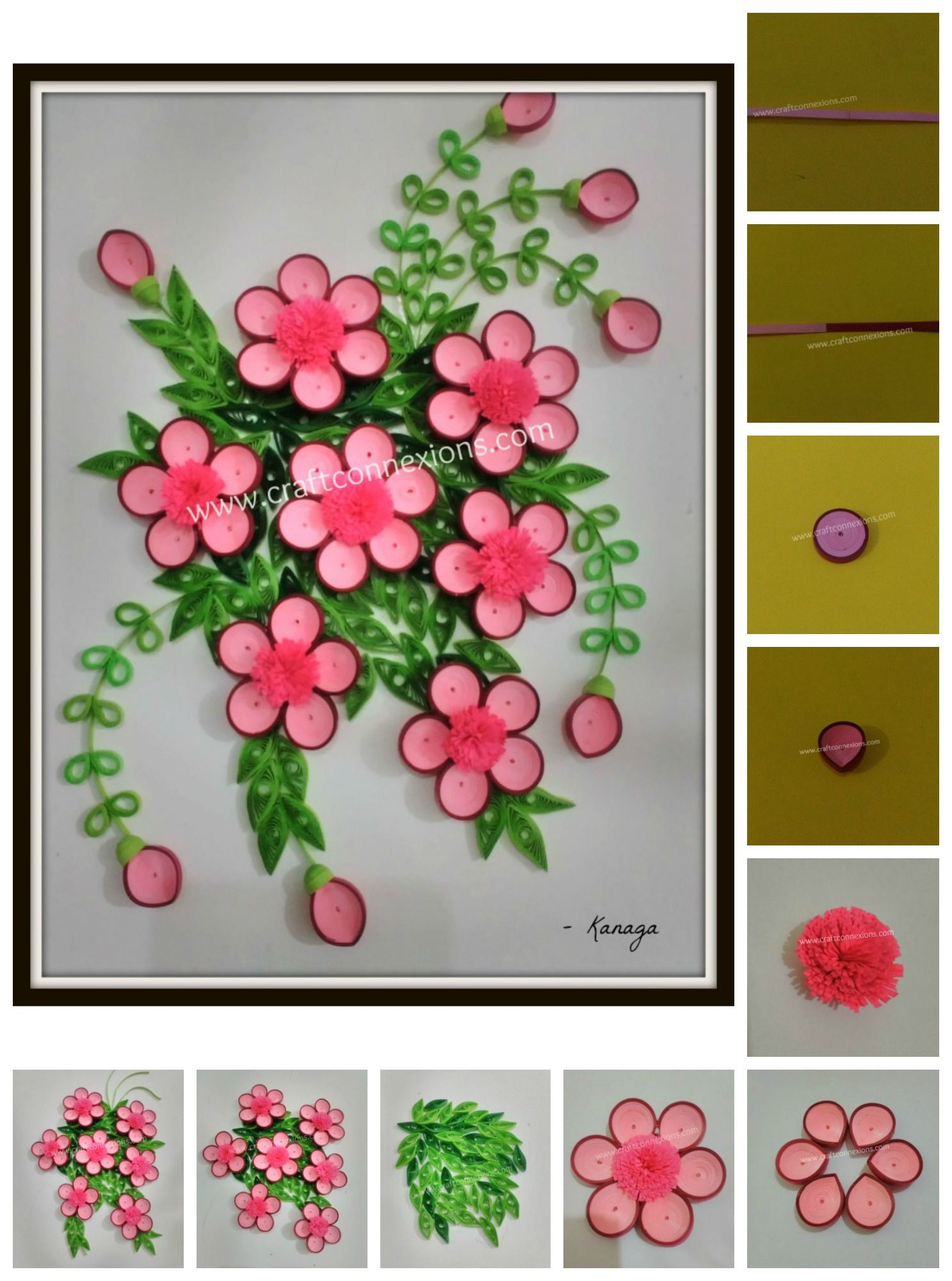 Paper Quilling Floral Wall Frame Step By Step Instructions