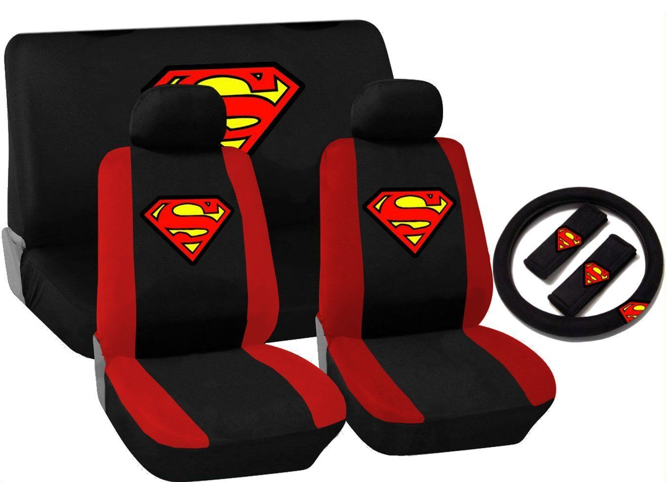 Superman Car Accessories Seat Covers Bench Cover Shoulder Pads Steering Wheel RED