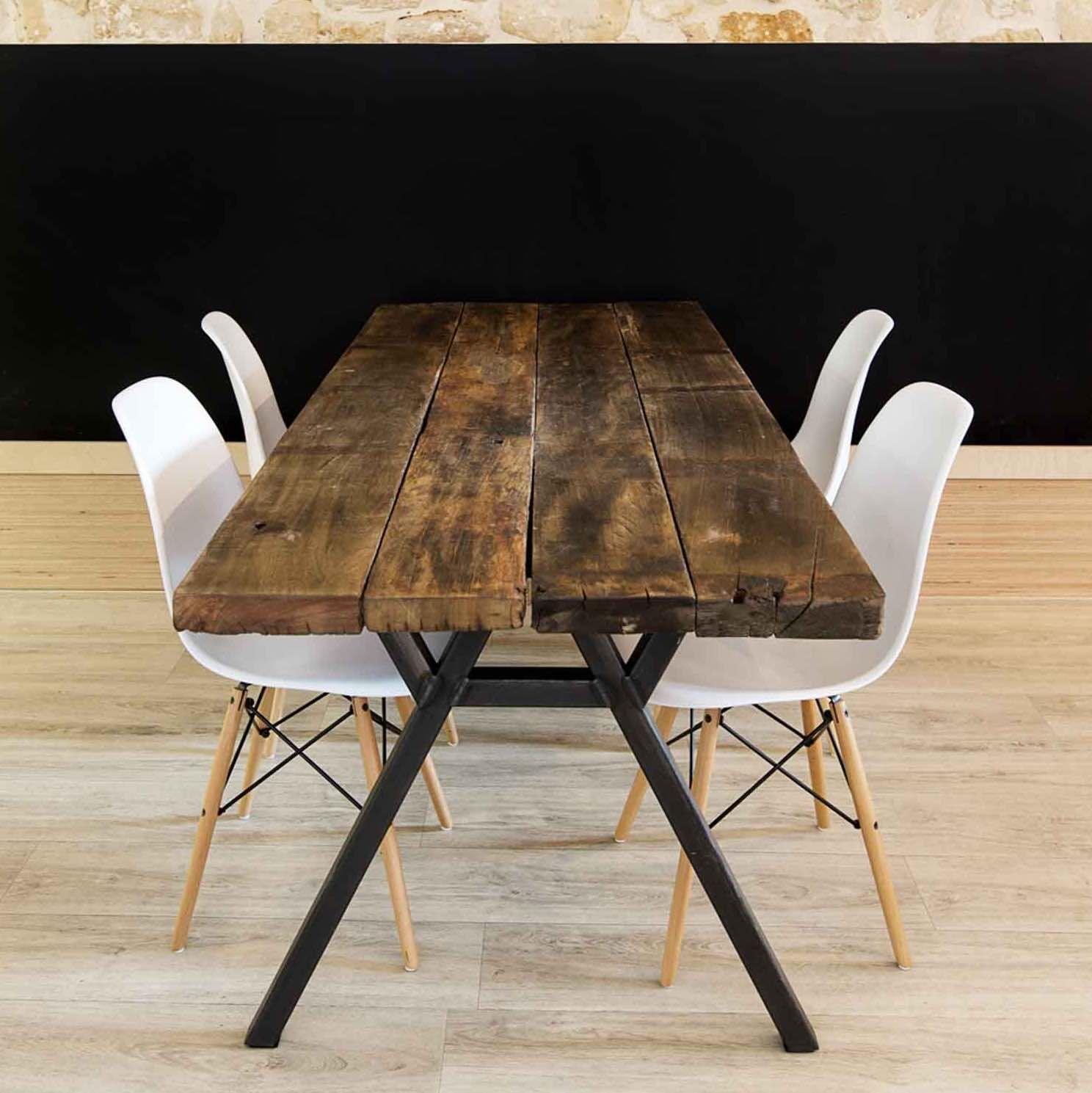 Table albertine en plancher de wagon en 2019 mobilier d co - Table de compression plancher ...