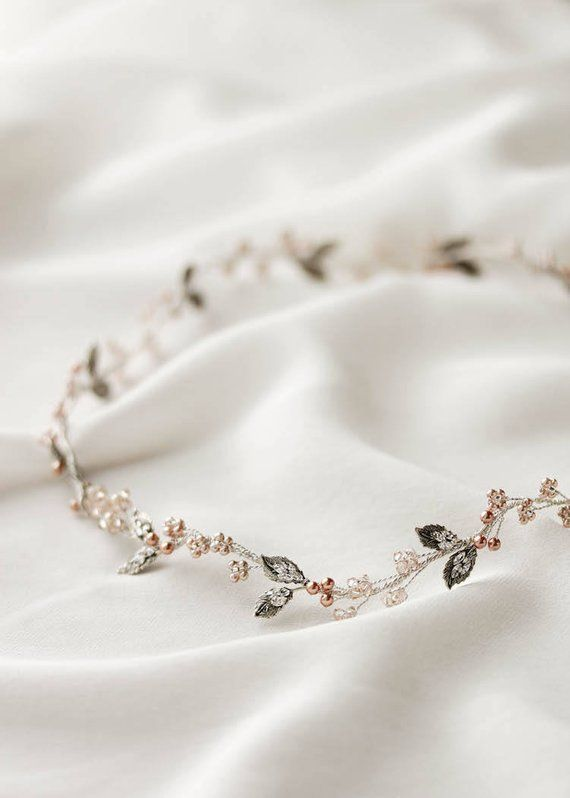 FAYETTE | delicate wedding halo in silver, silver and rose gold hair vine