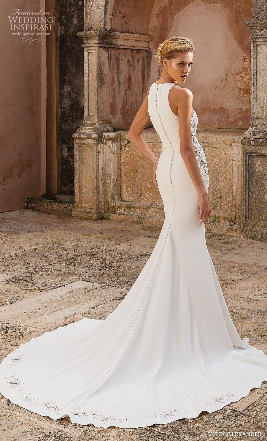 Justin Alexander Spring 2019 Wedding Dresses Wedding Inspirasi Justin Alexander Wedding Dress Fit And Flare Wedding Dress Satin Mermaid Wedding Dress [ 1485 x 900 Pixel ]